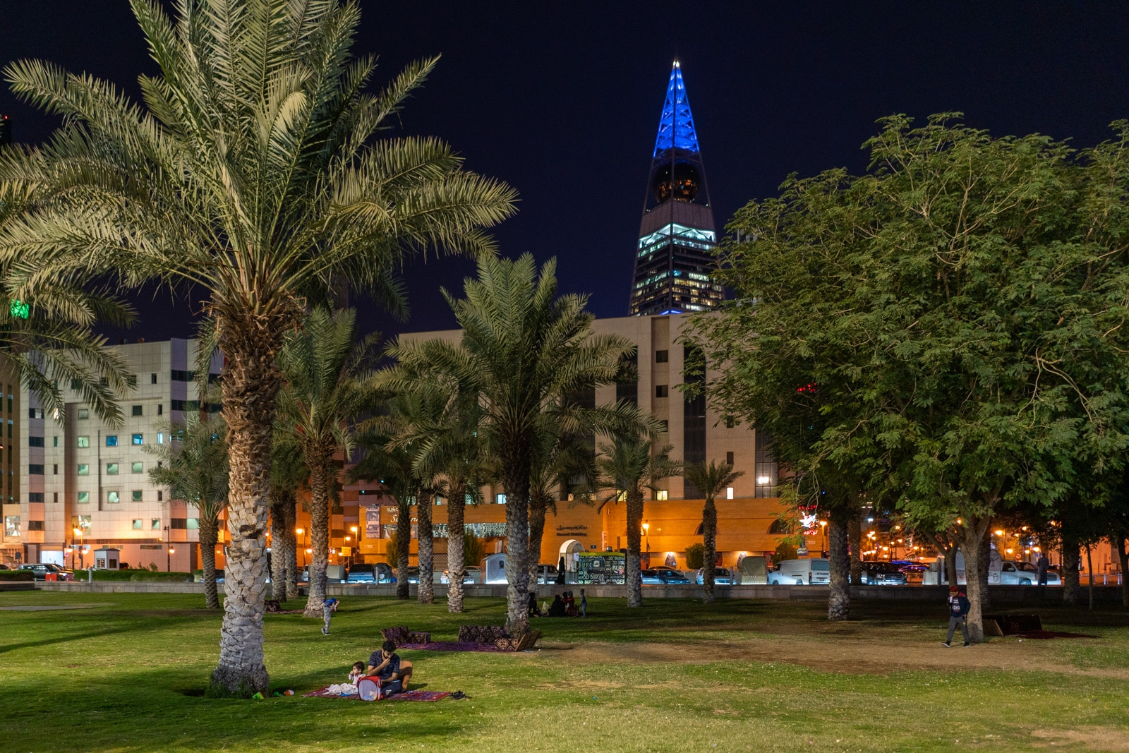 Father and son having a picnic on the lawn of the King Fahad Library in Riyadh, Saudi Arabia