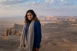 Female traveler at the Edge of the World near Riyadh, Saudi Arabia