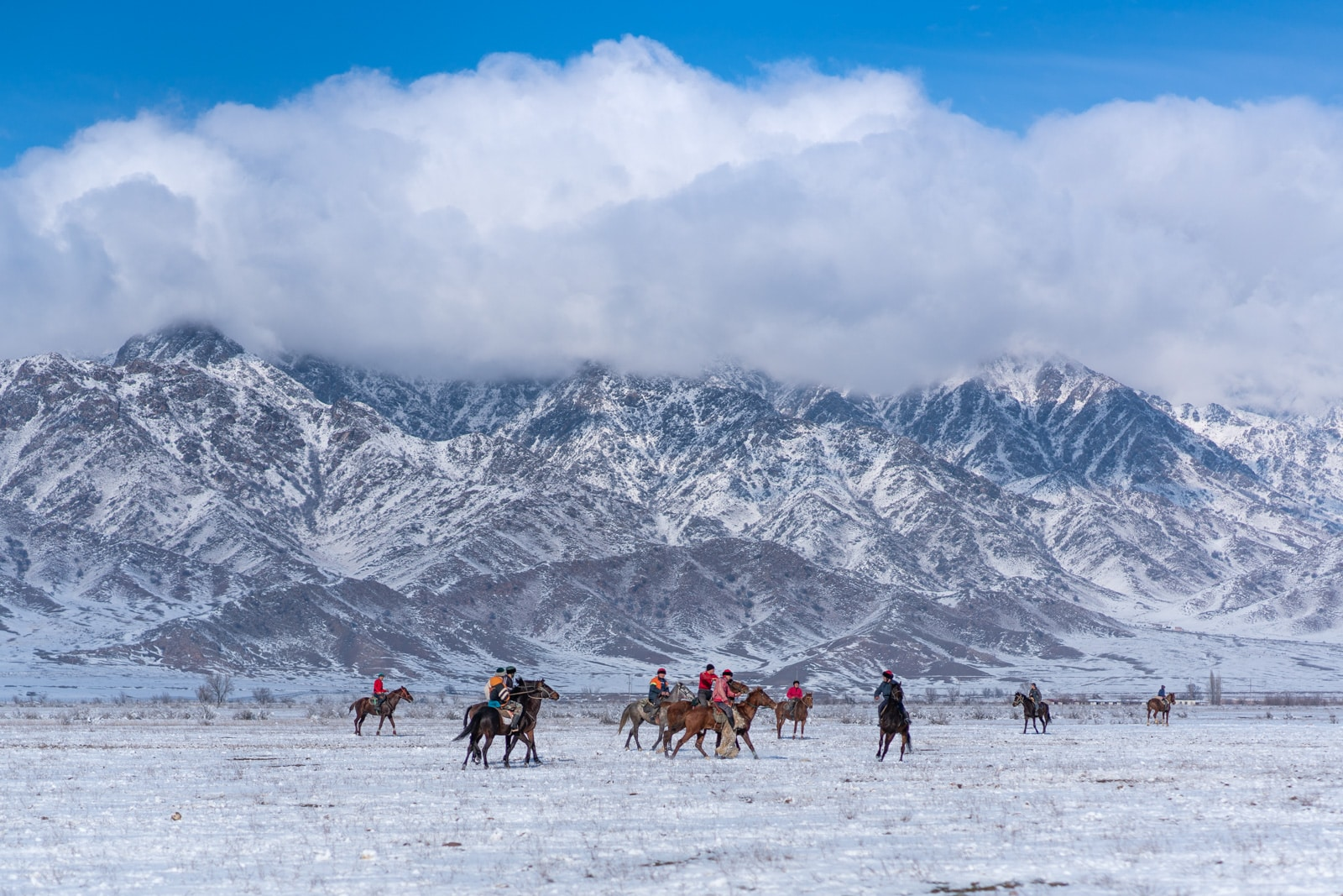 Kok buru match in mountains in Kyrgyzstan
