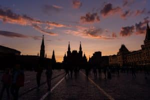 Sunset over Red Square in Moscow, Russia