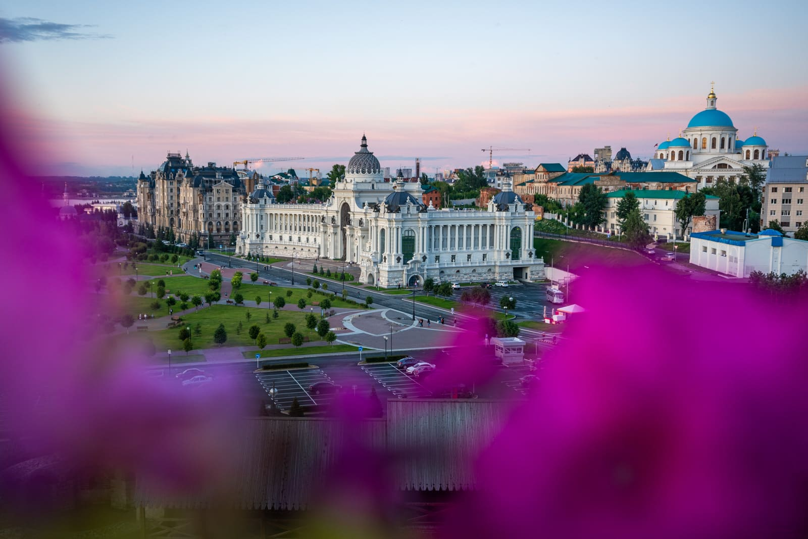 Sunset over the Ministry of Agriculture building in Kazan, Tatarstan, Russia