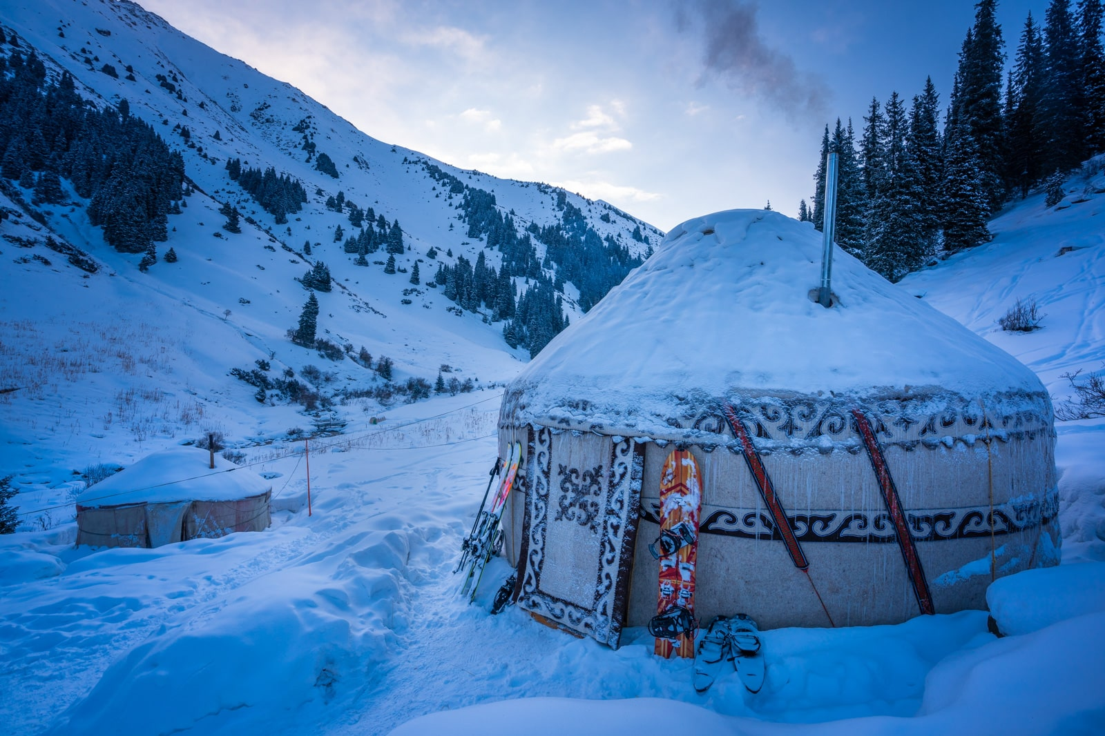 Backcountry ski yurt at sunrise in Boz Uchuk, Kyrgyzstan