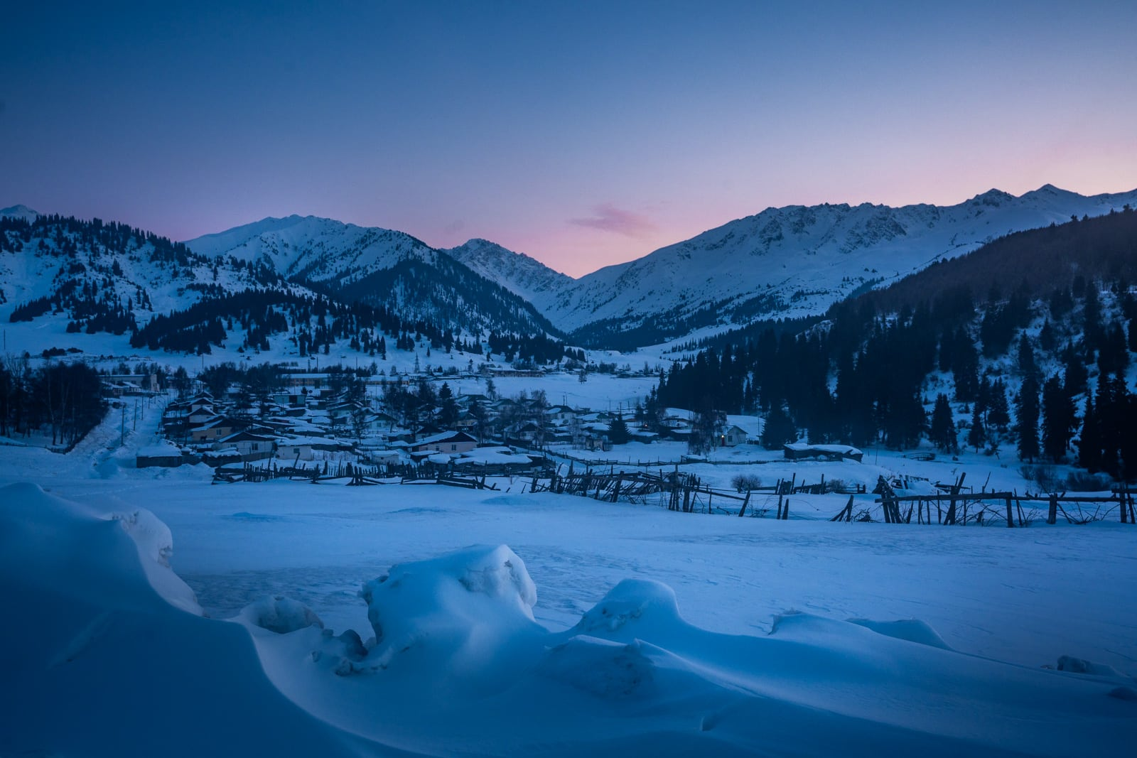 Jyrgalan, Kyrgyzstan at sunset in winter