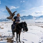 Salburuun eagle hunter in Kyrgyzstan in winter