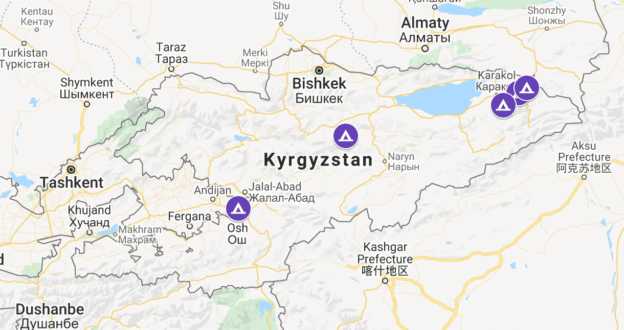 Map of winter yurt camps in Kyrgyzstan