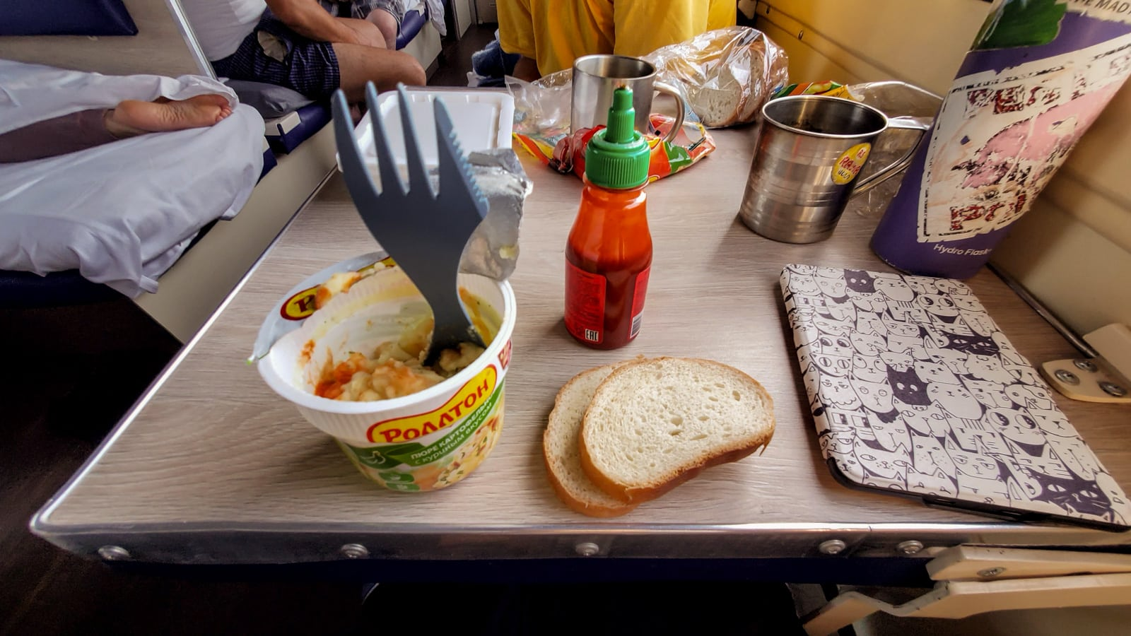 Instant mashed potatoes on Trans-Siberian train in Russia