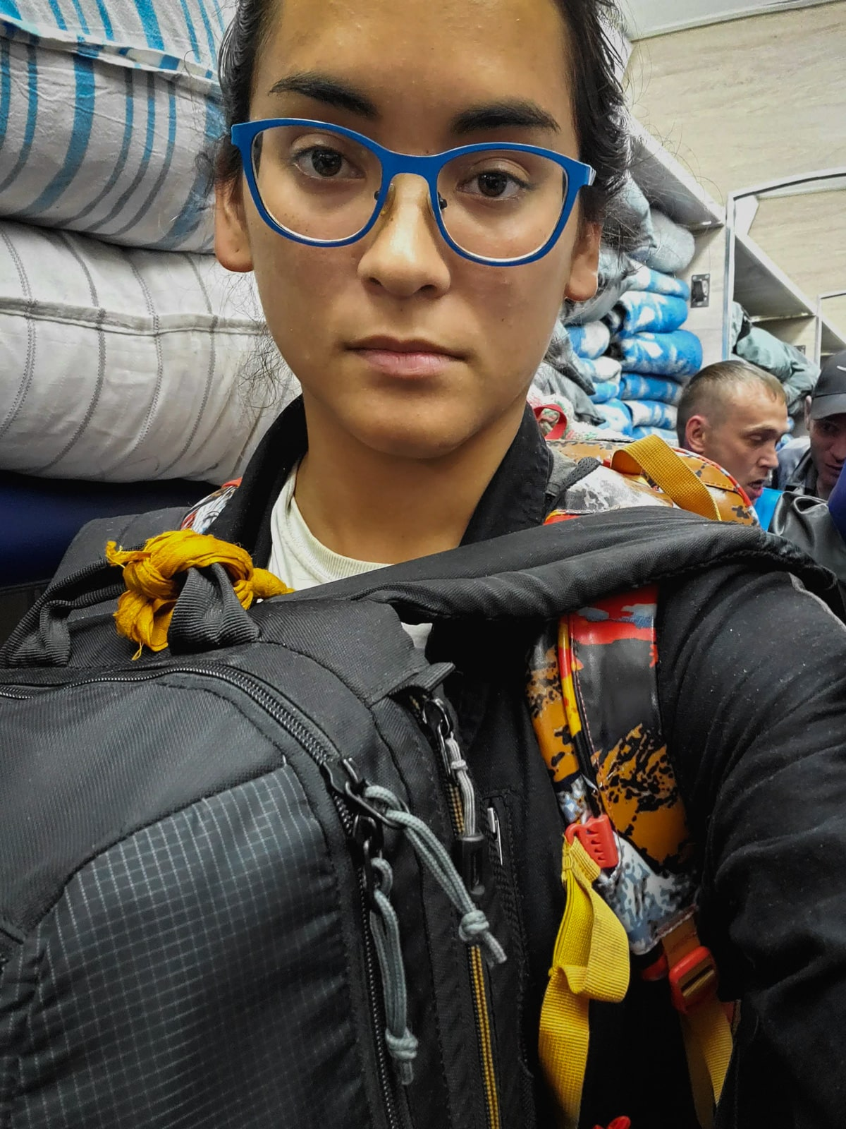 Backpacker on a Russian train