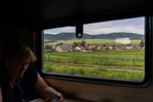 View of Siberian landscapes from a Russian Trans-Siberian train