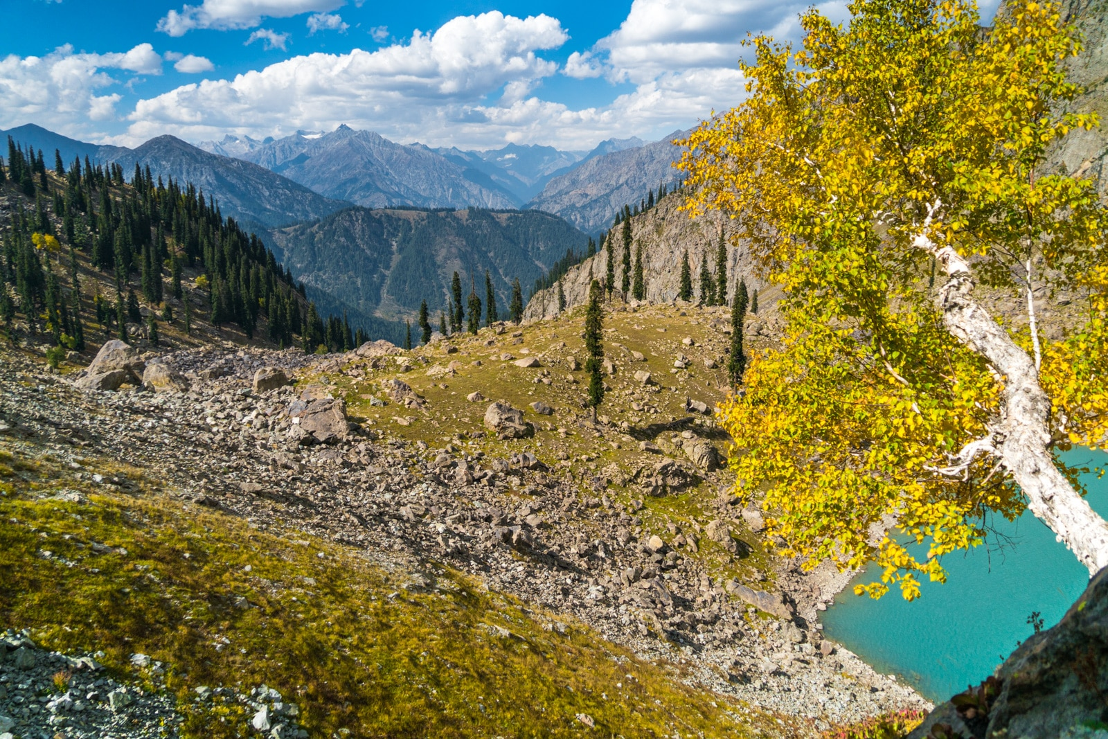 View of Spin Khwar lake while trekking near Kalam, Swat Valley, Khyber Pakhtunkhwa, Pakistan