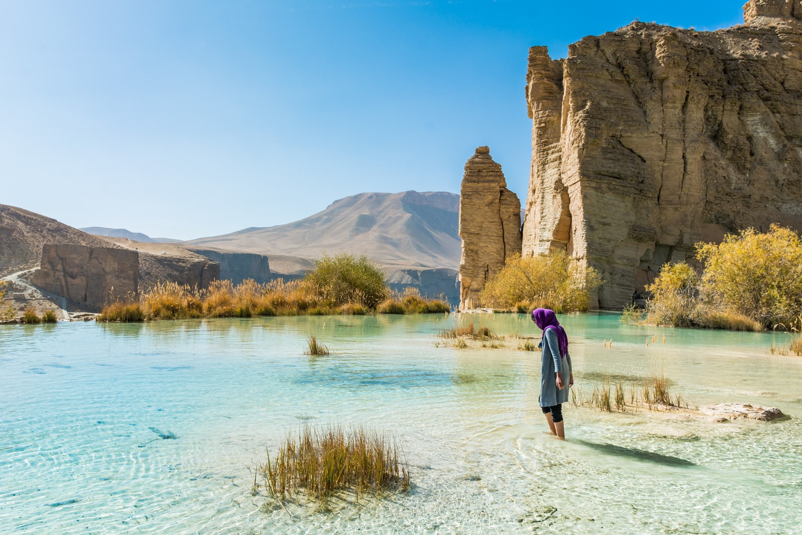 Foreign female traveler in Band-e-Amir, Afghanistan