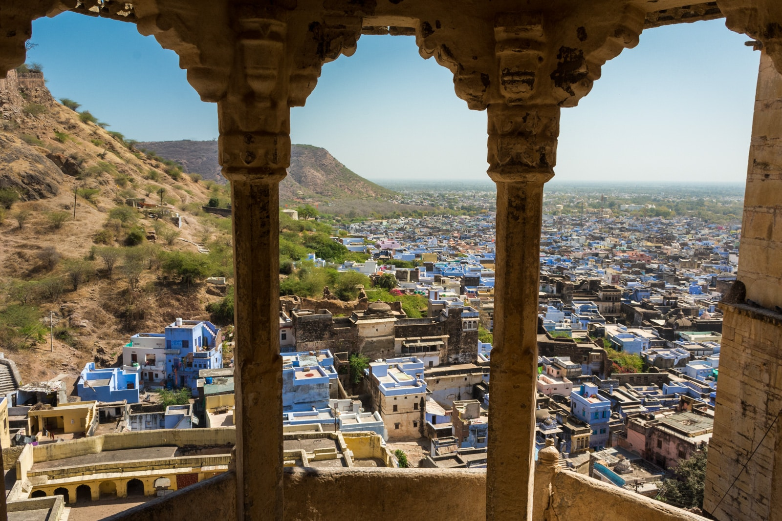 View of blue houses from the palace in Bundi, Rajasthan, India