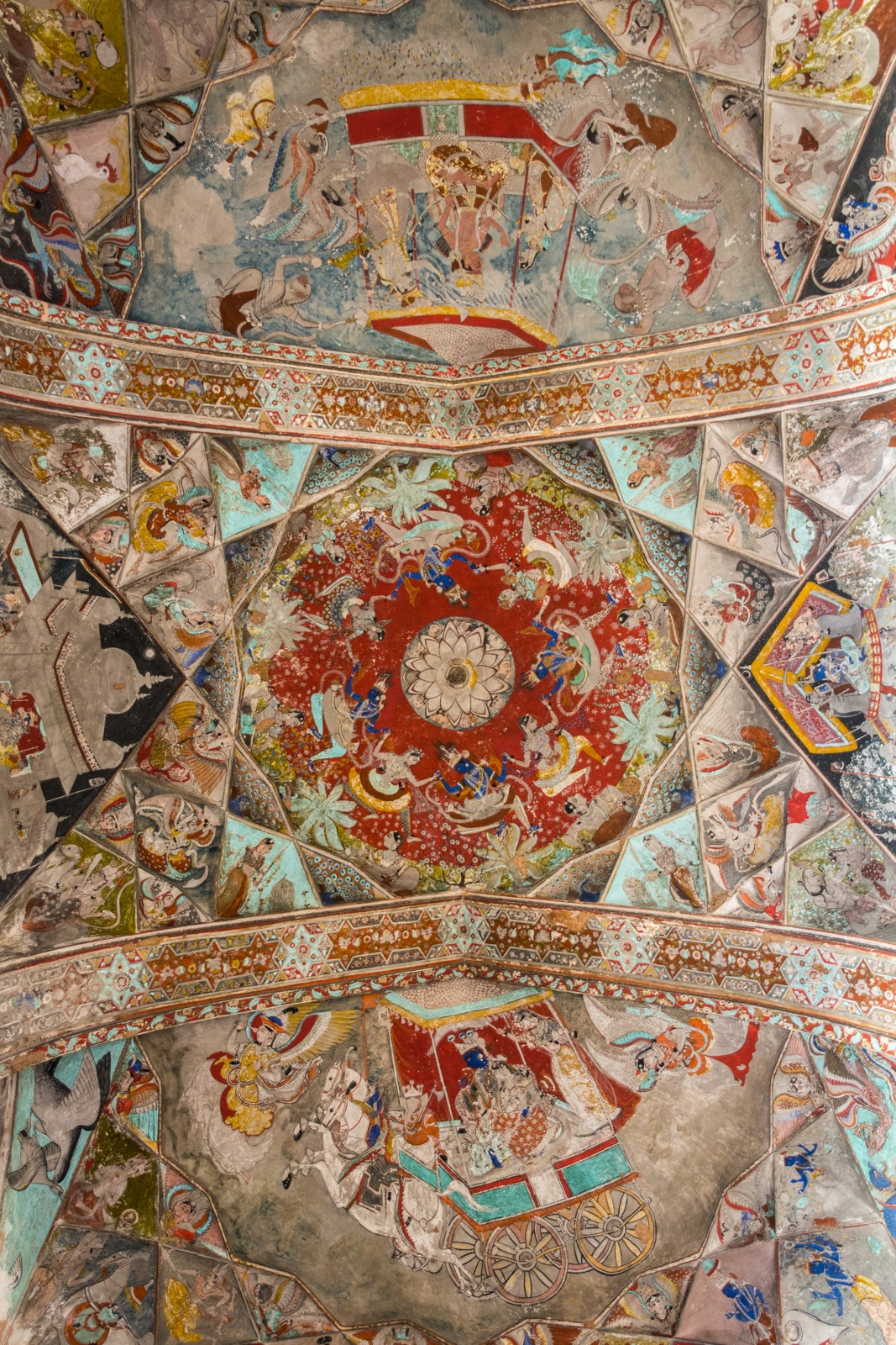 Fresco paintings on the ceiling of a palace in Bundi, Rajasthan, India