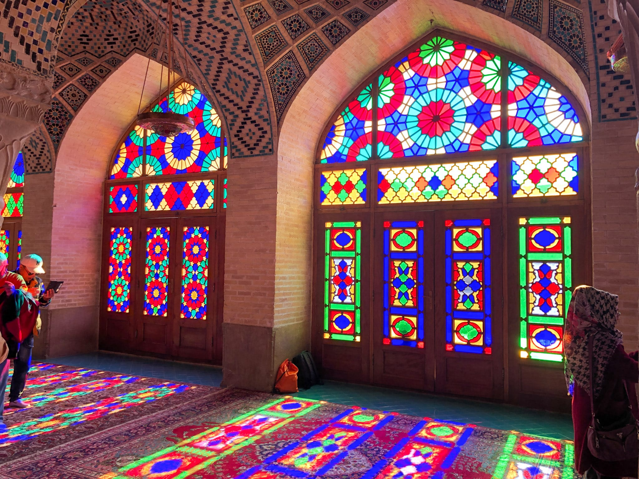 Light rays in the Pink Mosque in Shiraz, Iran