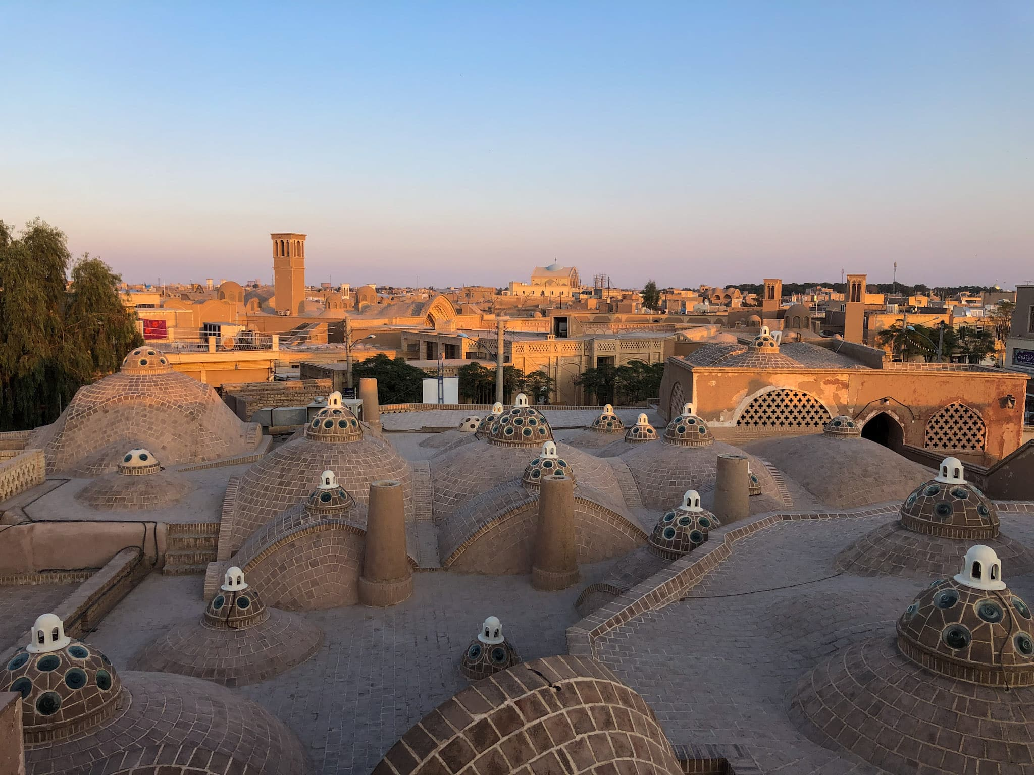 Sunset from the bath house hamam roof in Kashan, Iran