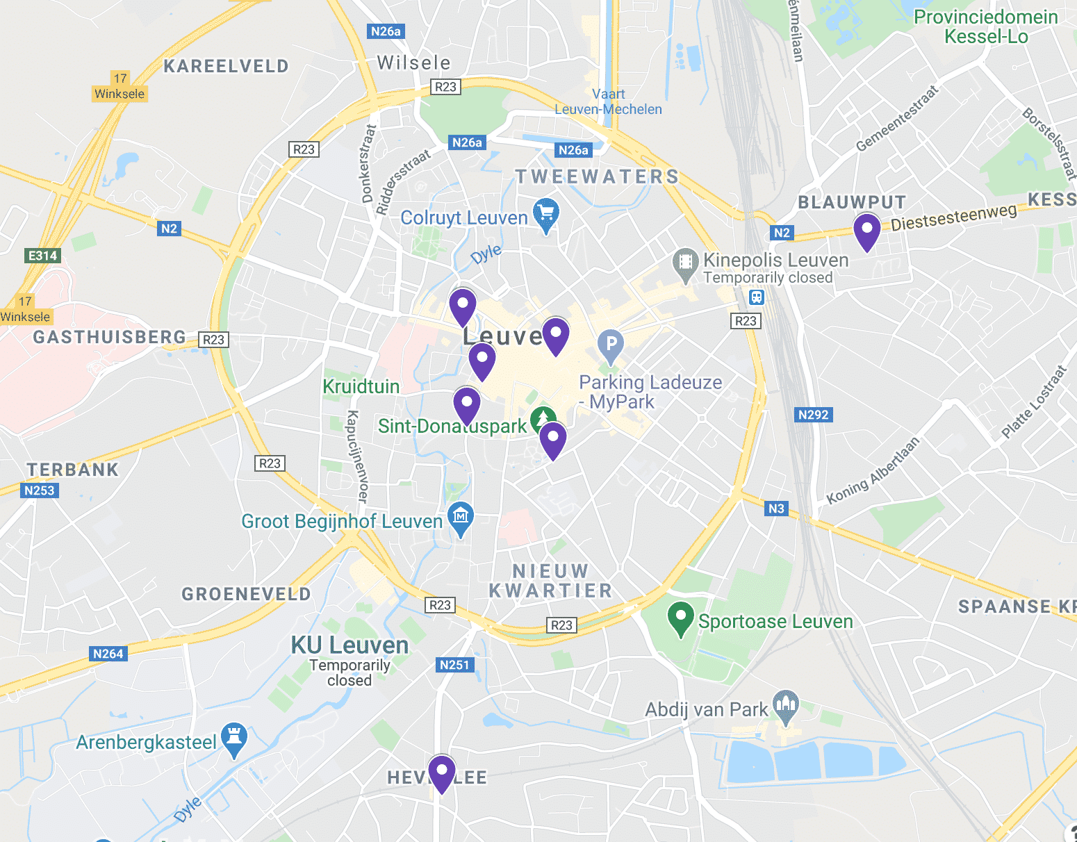 Map of vegetarian restaurants in Leuven