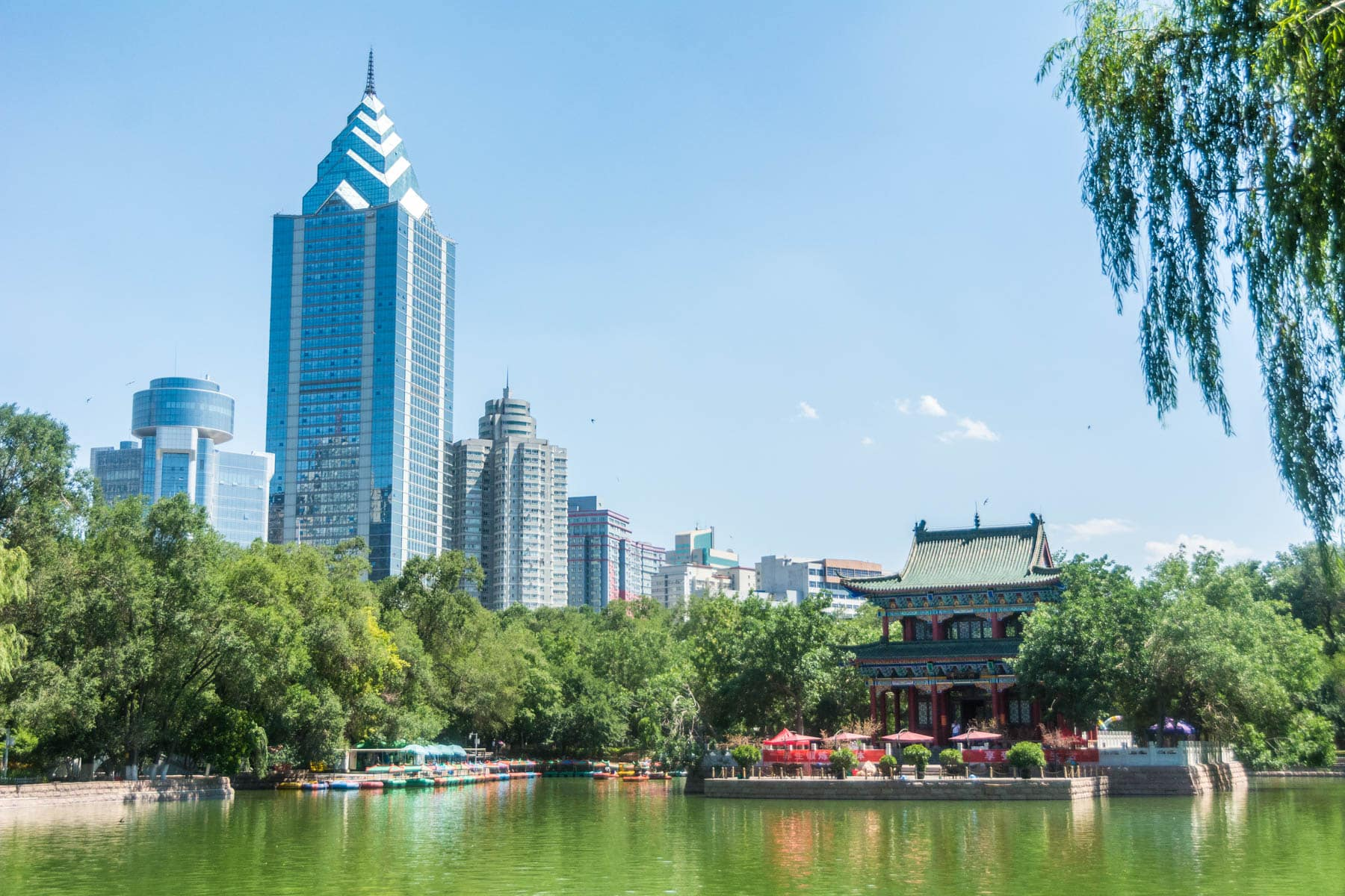 Pond in a park in central Urumqi, capital of Xinjiang, China