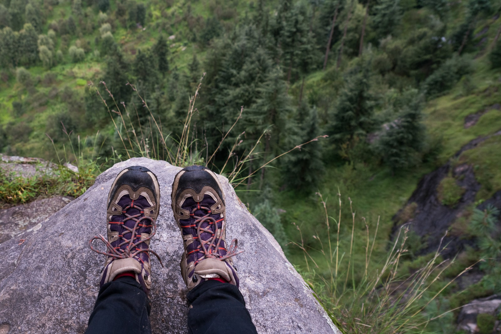Female traveler's purple hiking boots on a cliff over pine forests in Himachal Pradesh