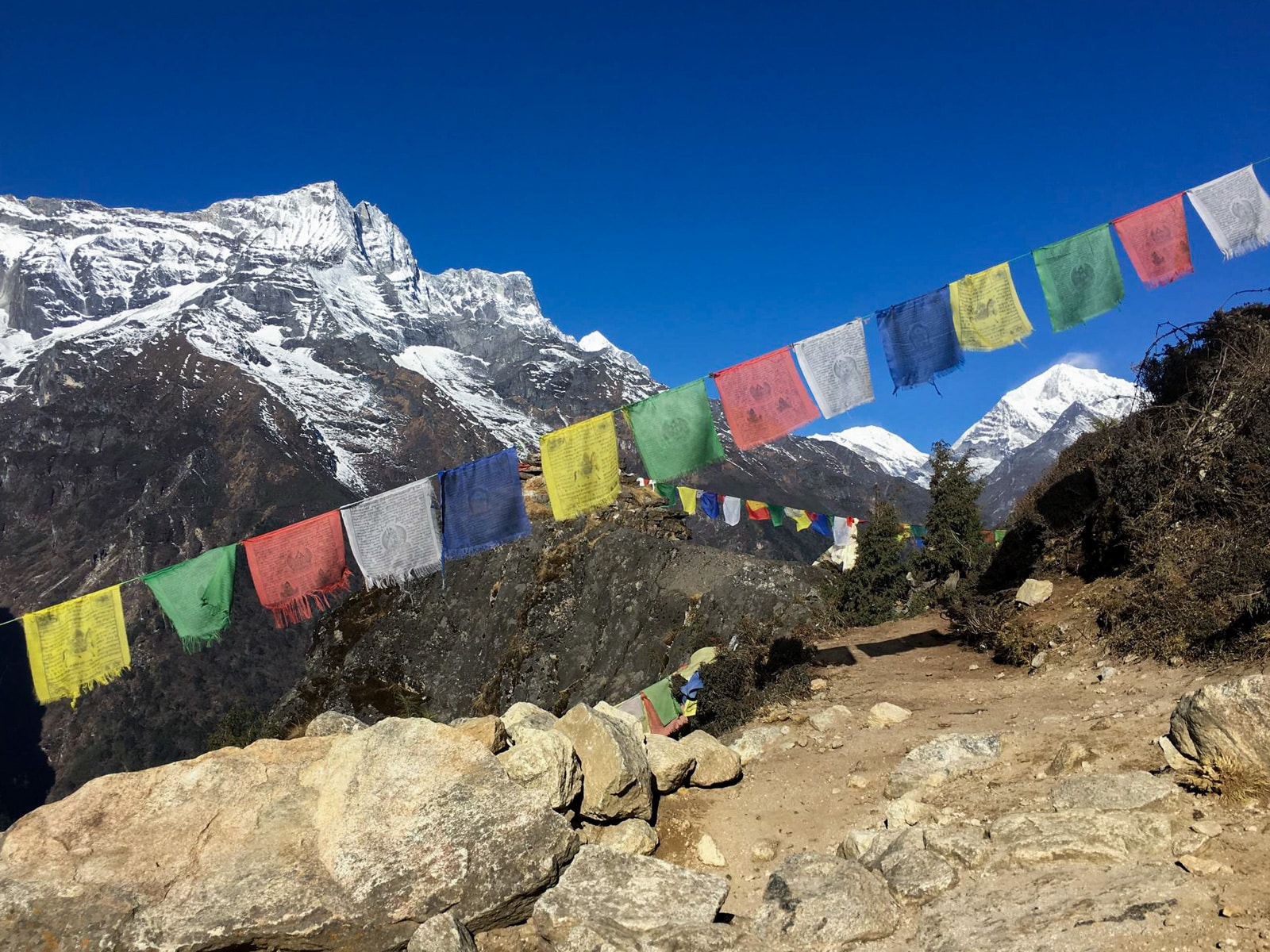 Prayer flags on a trail near Namche Bazar in Nepal