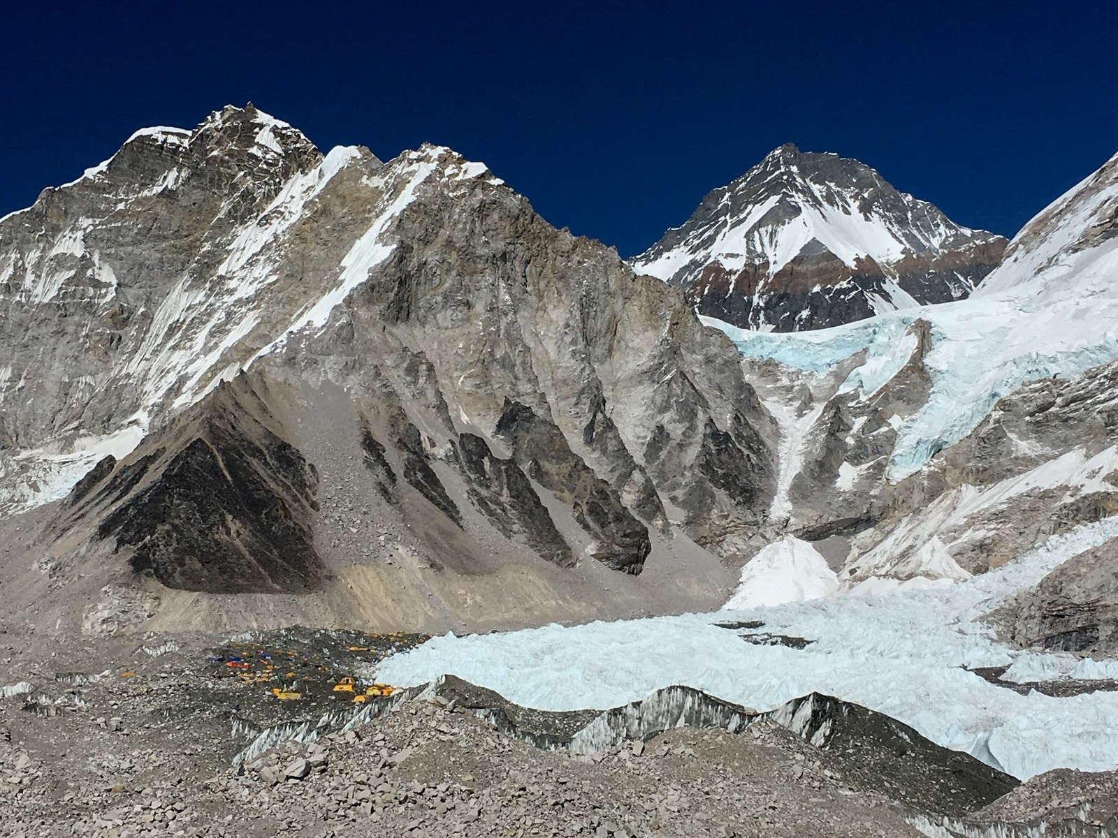 View of a glacier at Everest Base Camp in Nepal