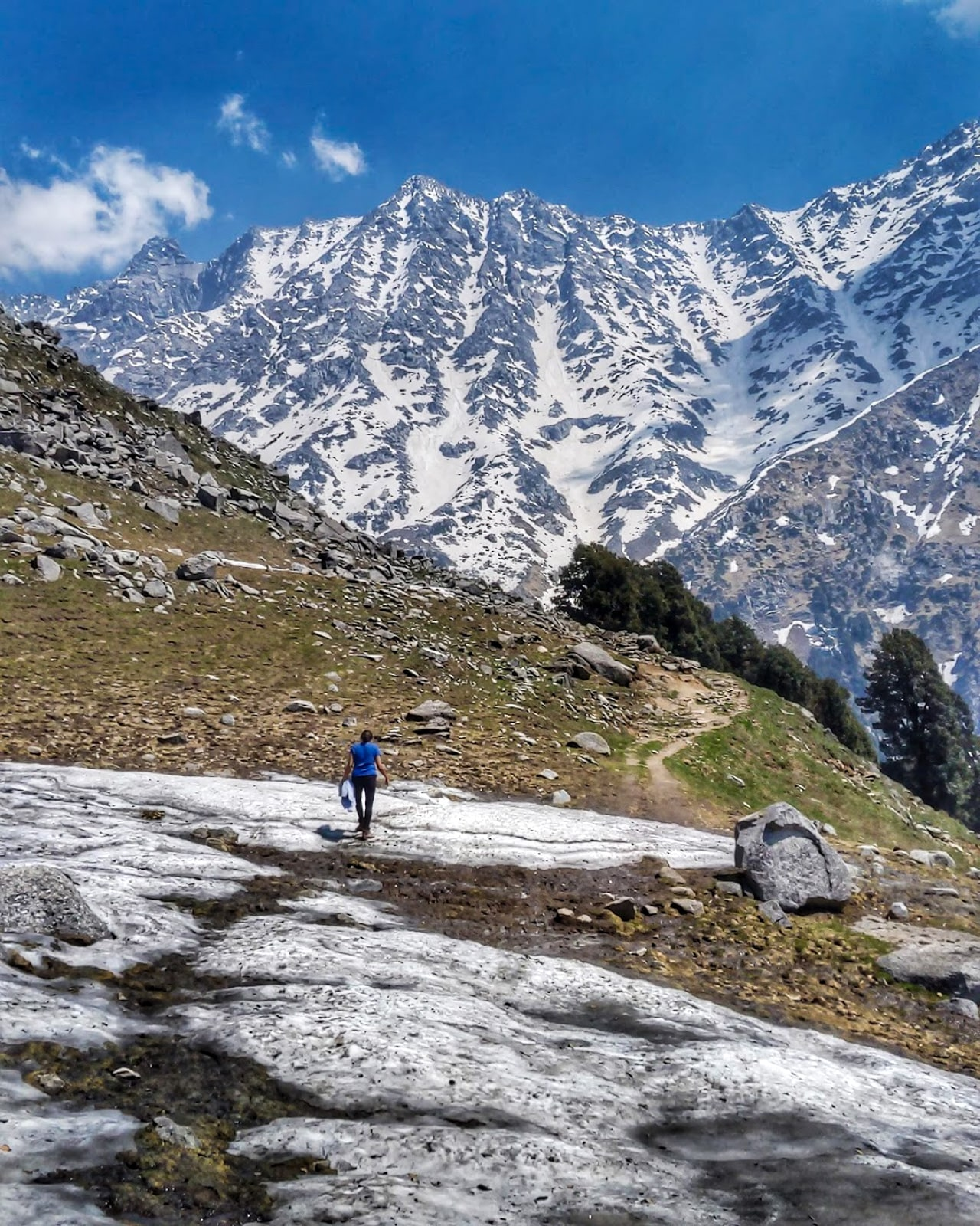 Solo female traveler walking in the snow-capped Dhauladar Mountains in India
