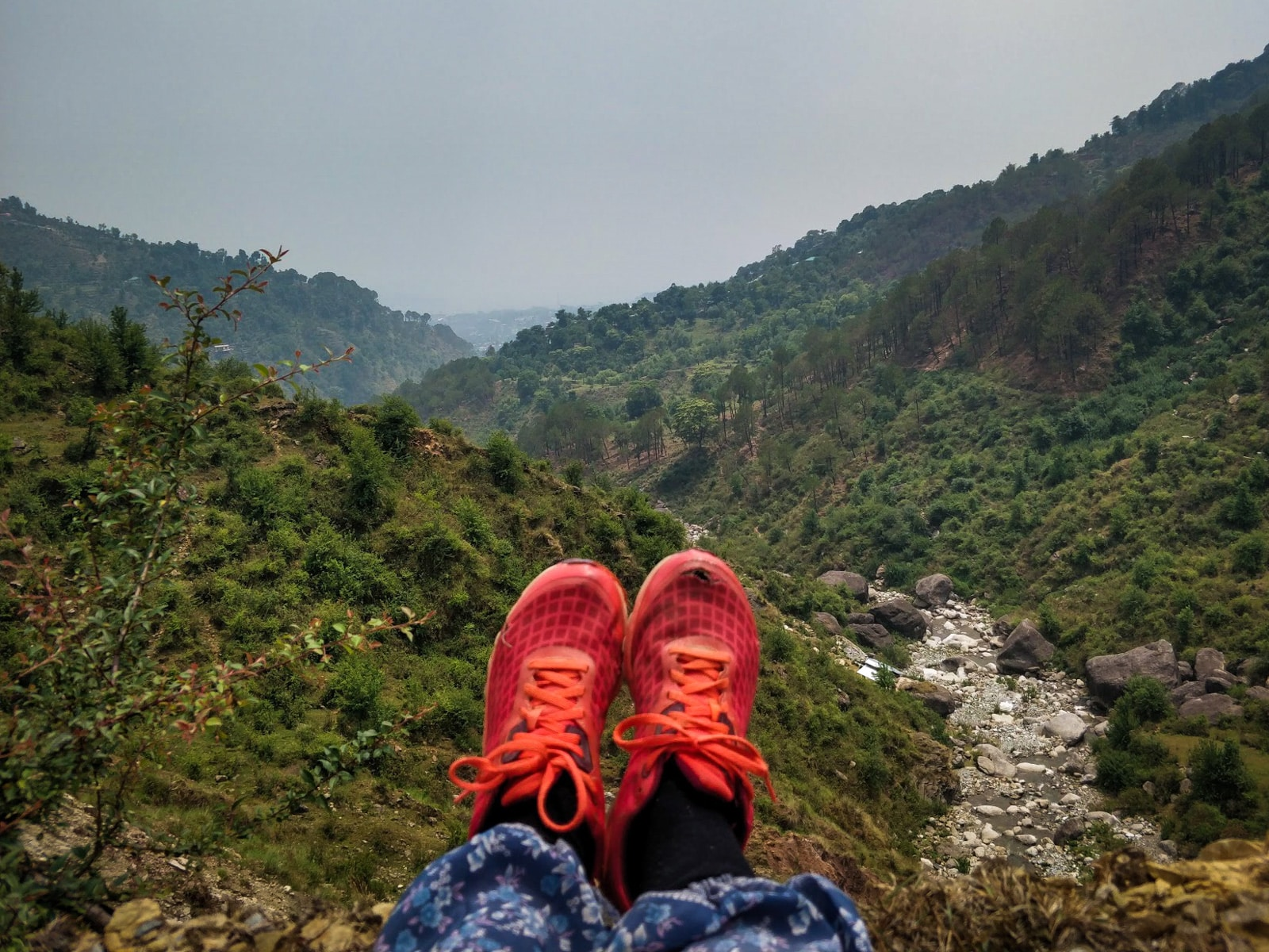 Red sneakers of a solo traveler in front of a green valley while hiking down to Dharamshala in Himachal Pradesh, India