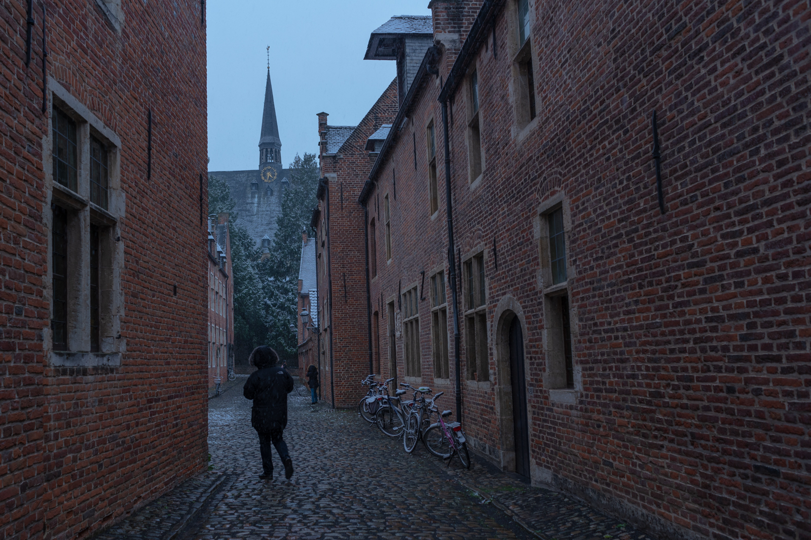 Person walking in a black jacket on a gray snowy day in the Begijnhof of Leuven, Belgium