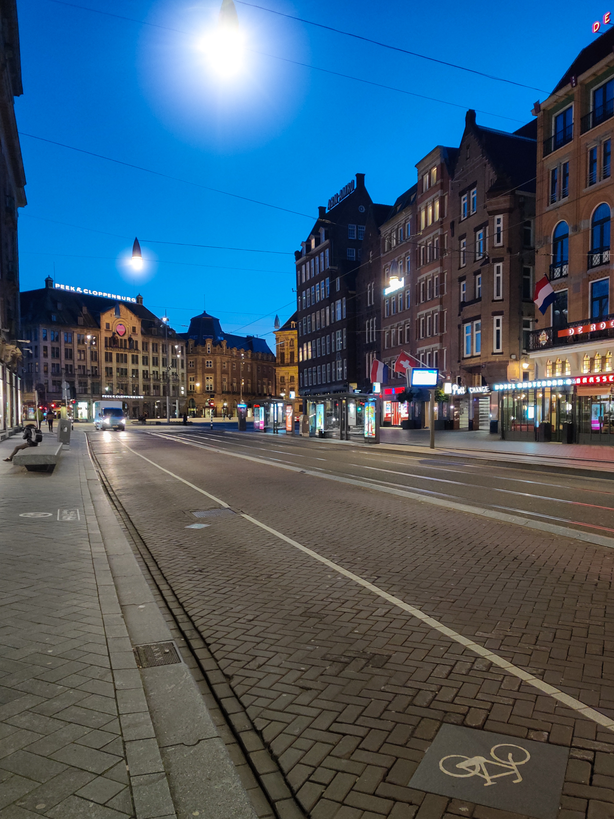 Empty streets and bicycle lanes in Amsterdam, Netherlands during the COVID pandemic