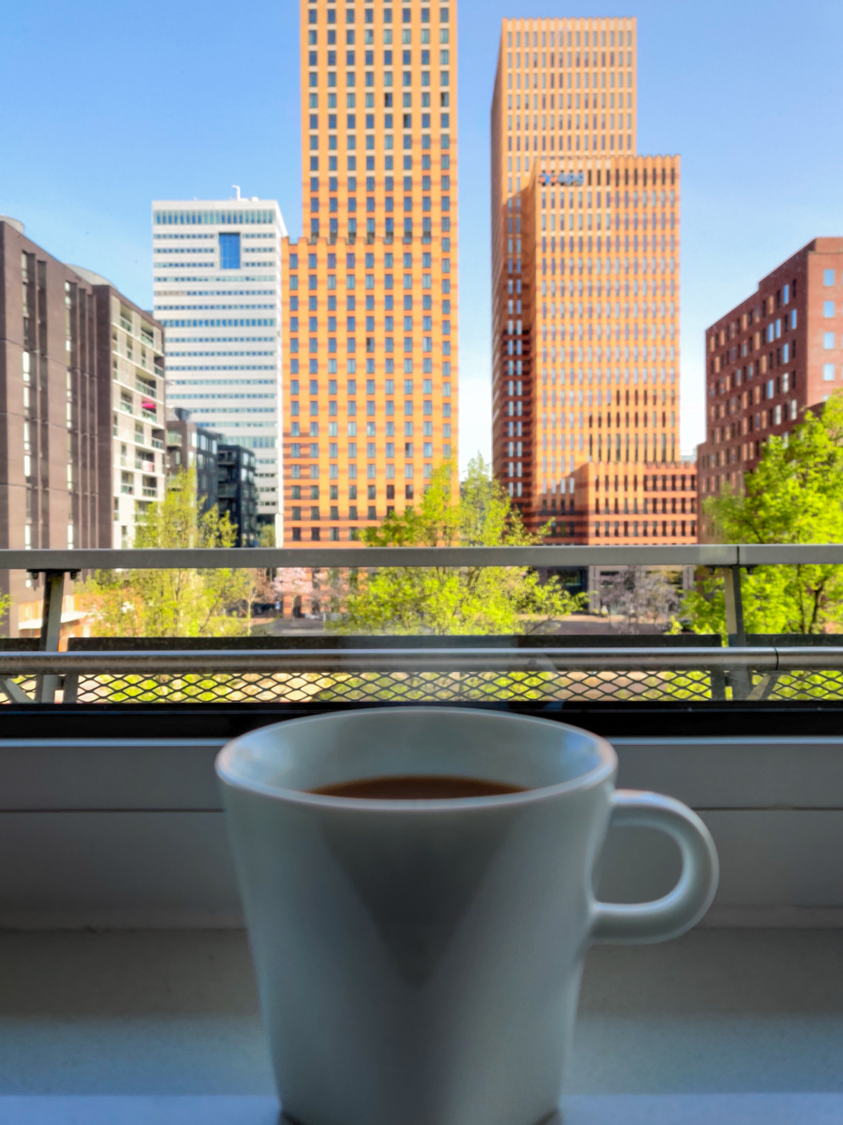 Coffee and the view from An's Amsterdam apartment
