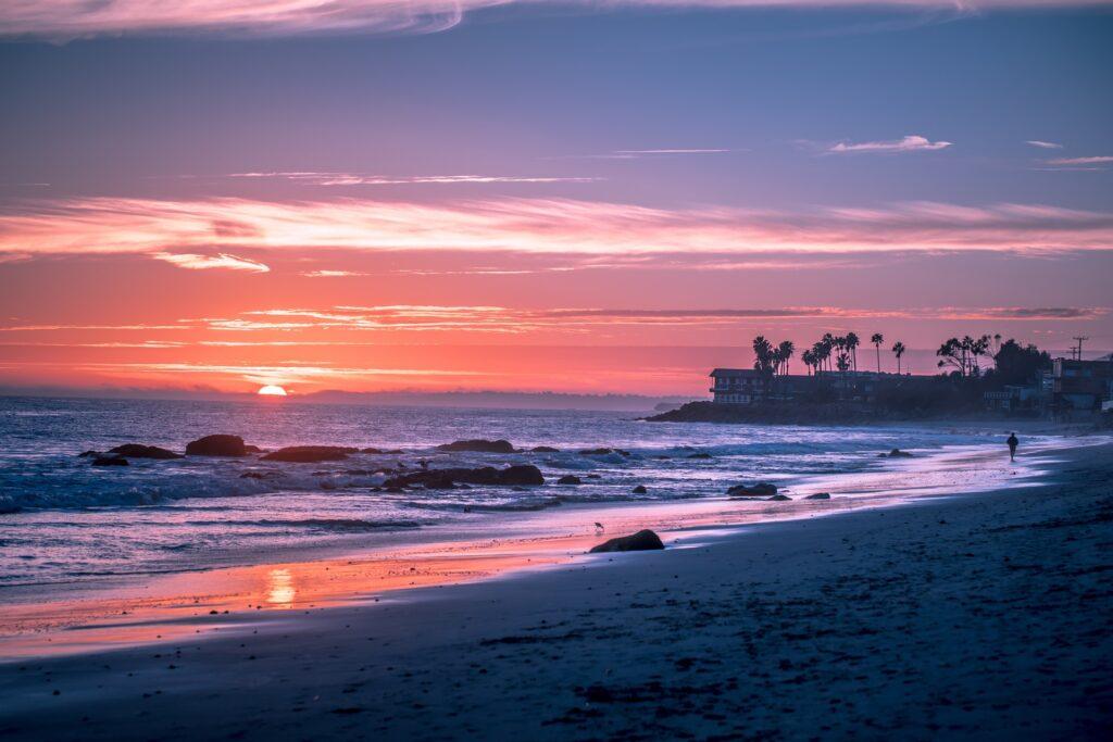Colorful sunset over a beach in Malibu, USA
